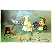 Clapsaddle Humanized Easter Postcard--Chick Chef Makes Breakfast  (1 of 3)