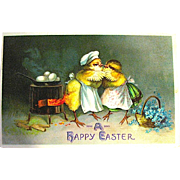 Clapsaddle Humanized Easter CHICK CHEF Cooks Breakfast Postcard (2 of 3)