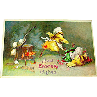 Clapsaddle Humanized CHICK CHEF Easter Postcard (3 of 3)