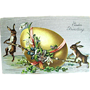 1909 Easter Postcard—Rabbits Move Giant Egg--free shipping