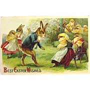 Clapsaddle Easter Postcard, Humanized Rabbits and Chicks, Ser. 2021