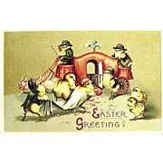 Clapsaddle Easter Postcard, Bride, Groom, Rabbits Pull Coach--free shipping