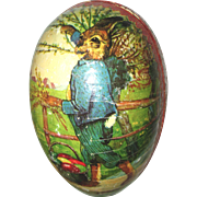 Antique Large German Easter Egg Candy Container w Dressed Papa Rabbit Graphics