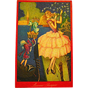 Beautiful Fantasy Easter Postcard—Art Deco Beauty in Venice