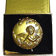 Discontinued Early May Angel Gold Crystal Estee Lauder Powder Compact, MIBB