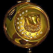 Beautiful Discontinued Early Golden Taurus Estee Lauder Powder Compact, MIBB