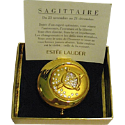 "Beautiful Discontinued Early ""Golden Sagittarius"" Estee Lauder Powder Compact, MIBB"
