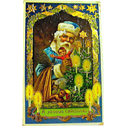 Barton Spooner Gel-Gilt Christmas Postcard, Santa Claus in Blue