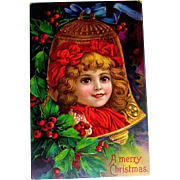 Beautiful Antique Christmas Postcard, Child in Gold Bell Shaped Ornament (1 of 3)