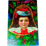 Beautiful Unused Antique Christmas Postcard, Child in Gold Bell Shaped Ornament (2 of 3)