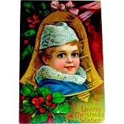 Beautiful Antique Christmas Postcard, Child in Gold Bell Shaped Ornament (3 of 3)