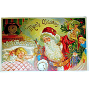 1909 Beautiful Embossed Christmas Postcard, Santa Claus, Sleeping Child