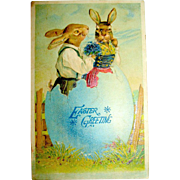 German Easter Postcard, Romantic Rabbits