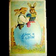 German Easter Postcard, Romantic Rabbits