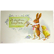 Pristine Humanized Rabbit & Chick Easter Postcard