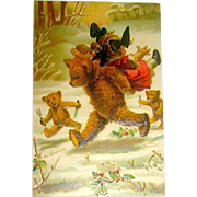 Perfect Molly and the Bears Christmas Postcard - M. Greiner Artist Signed