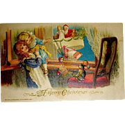 Unused Winsch, Schmucker Christmas Postcard, Santa Claus in Dirigible Basket