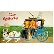 1912 Easter Postcard - Chicks Ride in a Rabbit Carriage