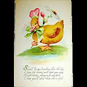 Gibson Art Co. Fantasy Dressed Duck Easter Postcard