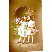 """Real Photo French Easter Postcard—""""Bonne Fete"""""""