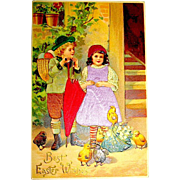 Silk Dressed Boy, Girl, Yellow and Brown Chicks Easter Postcard