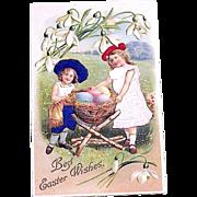 Beautiful Silk Dressed Girls and Easter Rabbit Nest Postcard