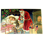 Antique German Christmas Postcard - Early Santa Claus, Sleeping Children