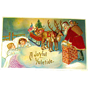 Unique Four Colors of Silk Decorate Santa Claus, Reindeer, Sleeping Children Postcard
