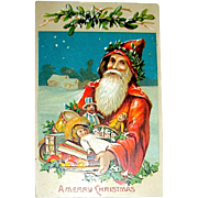 Saxony Printed Christmas Postcard - Santa Claus, Tray of Treats & Toys