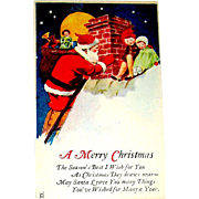 Delightful Christmas Postcard - Santa Claus, Children, Rooftop