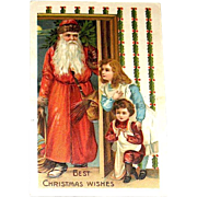 German Christmas Postcard - Handsome Santa Claus, Children, Switches, Toys