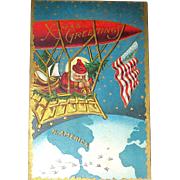 Unused Christmas Postcard, Santa w Binoculars, Blimp, Gondola, Earth