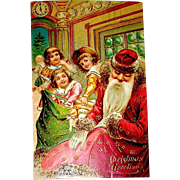 Tuck HTF 1907 Christmas Postcard, Sleeping Santa, Naughty Children - free shipping
