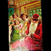 Tuck HTF 1907 Christmas Postcard, Sleeping Santa, Naughty Children - free shipping
