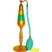 Imperial Size Teal Green & 22 Kt. Gold Decorated Volupte Perfume Atomizer