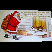 Christmas Postcard - Santa Claus Shushing a Barking Dog
