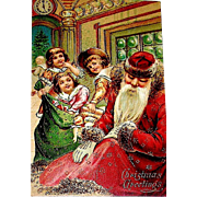 Antique Tuck Christmas Postcard, Santa Claus Naps, Children Raid Toys