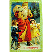 Antique German Christmas Postcard, Santa Claus with Children