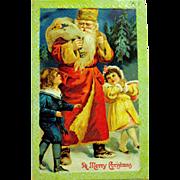 Antique German Christmas Postcard, Santa Claus with Children