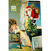 Antique Christmas Postcard, Santa Claus, Sleeping Child, Open Window