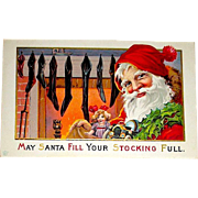 Antique Christmas Postcard, Happy Santa Claus Ready to Fill Stockings