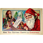 Christmas Postcard - Santa Claus and Elf With Toy Bag