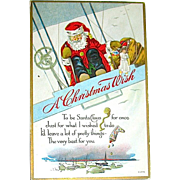 Christmas Postcard - Santa claus Delivers Toys from a Biplane