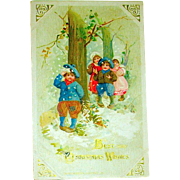 Winsch Schmucker 1913 Christmas Postcard, Children Play in Snow