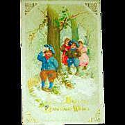 Winsch Schmucker 1913 Christmas Postcard, Children Play in Snow
