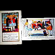THREE Whitney Christmas Postcards - Santa Claus, Children, Christmas Tree