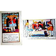 THREE Whitney Christmas Postcards - Santa Claus, Children, Christmas Tree