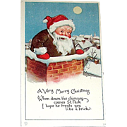 Adorable Santa Claus in Chimney Postcard With a VERY FUNNY Verse