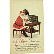 Christmas Postcard - Santa Claus Uses Short-Wave Radio to Plan his Journey