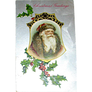 Winsch Schmucker Santa Claus in Bell Shaped Cameo Postcard